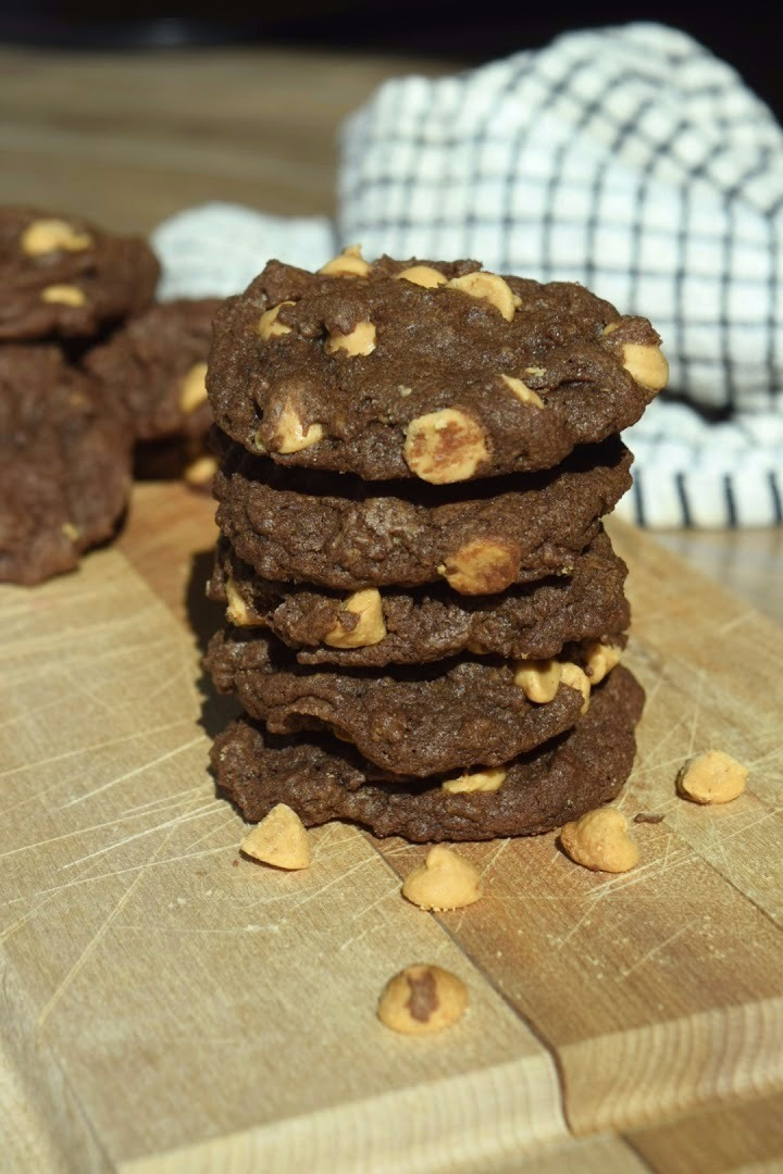 Chewy Chocolate PB Cookies