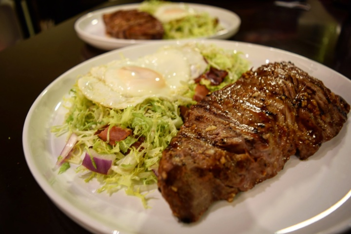 Sirloin with frisee salad